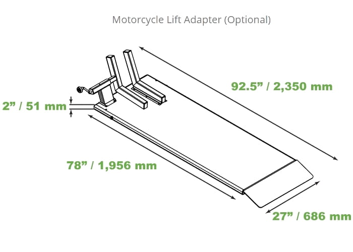 QuickJack Motorcycle Lift Adapter (sold seperate)