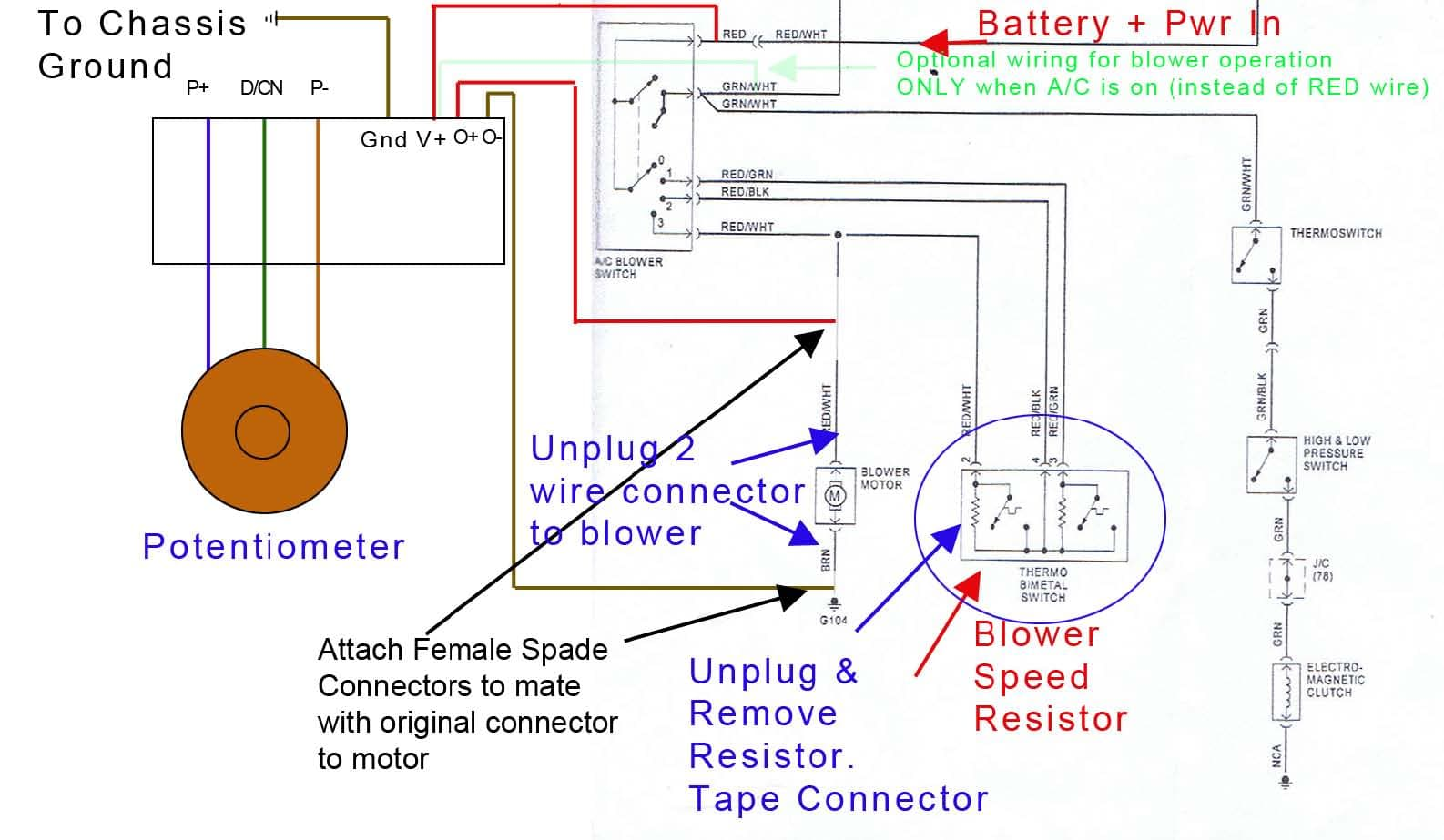 porsche 911 variable speed a c blower switch installation 911 figure figure 10 porsche factory schematic modifications annotated