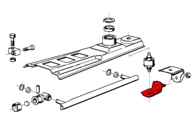 rear shift arm stop buffer lower bow plate 25111207113 - genuine bmw