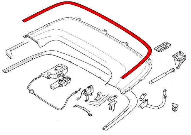 convertible top flap moulding 51177010325 genuine bmw. Black Bedroom Furniture Sets. Home Design Ideas