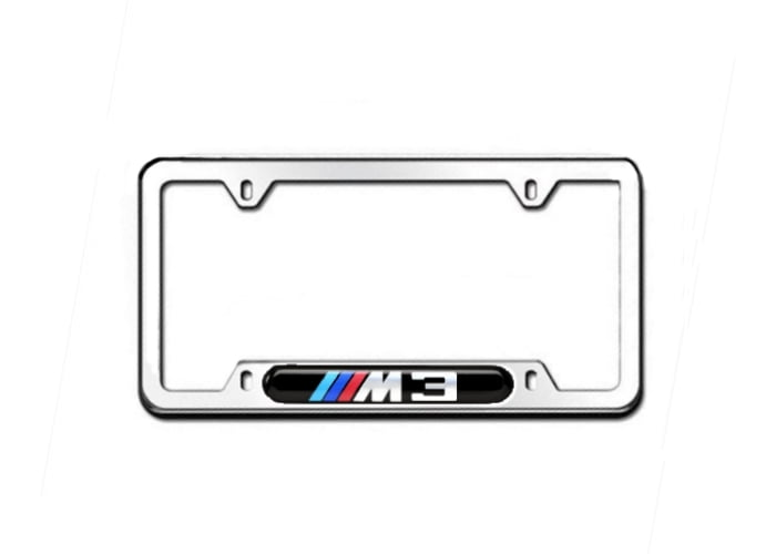 bmw m3 license plate frame, polished - pelicanparts