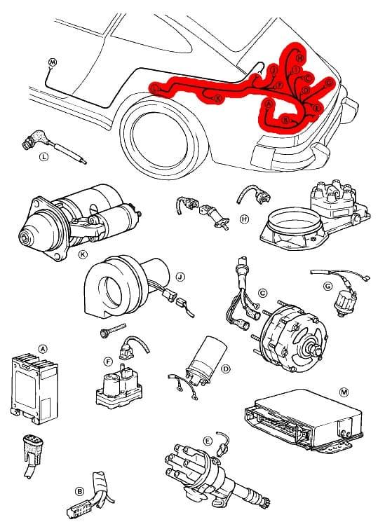 Engine Wiring Harness 91160701600 - Genuine Porsche - 911 ...